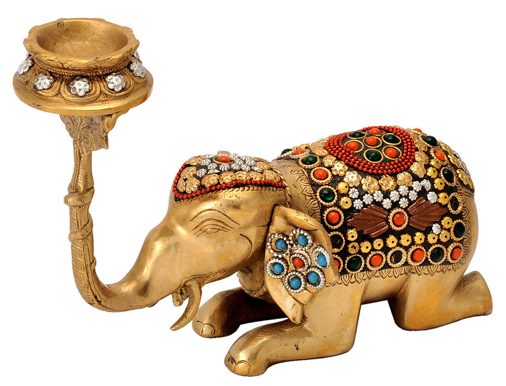 Decorated Elephant Candle Stand in Brass