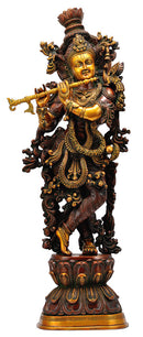 Lord Venugopal Krishna Statue in Golden Brown Finish