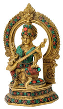 Devi Saraswati with Veena Brass Sculpture 9.75""
