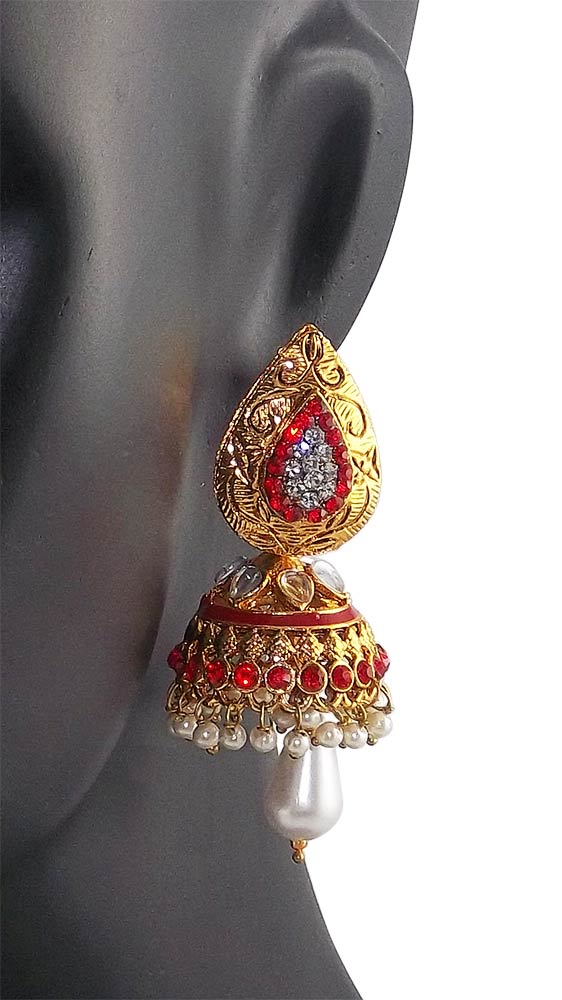 Gold Plated, White and Red Stone Studded Jhumka Earrings for Women