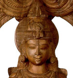 Divine Goddess Saraswati - Large Wood Sculpture