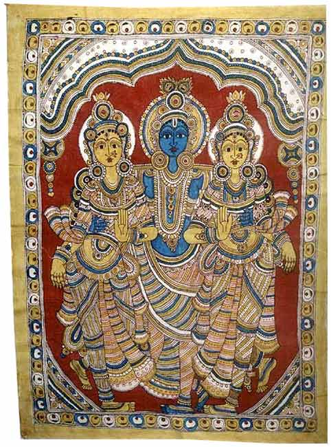 Krishna with Consorts-Kalamkari Painting