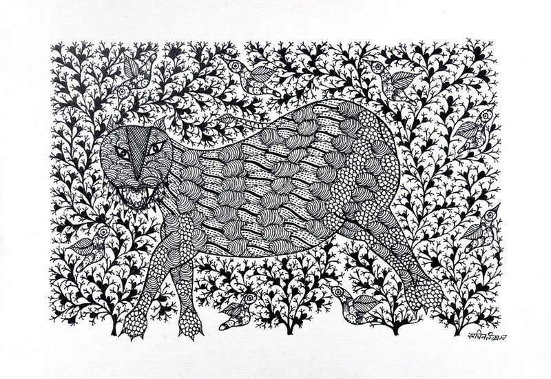 Gond Panting 'The Tiger'