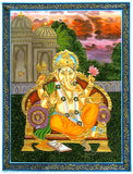 Ganesha Seated on throne - Painting on Silk