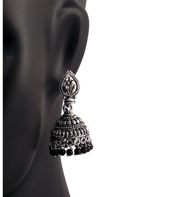 Black Beads Traditional Indian Style Sliver Color Jhumki Earrings