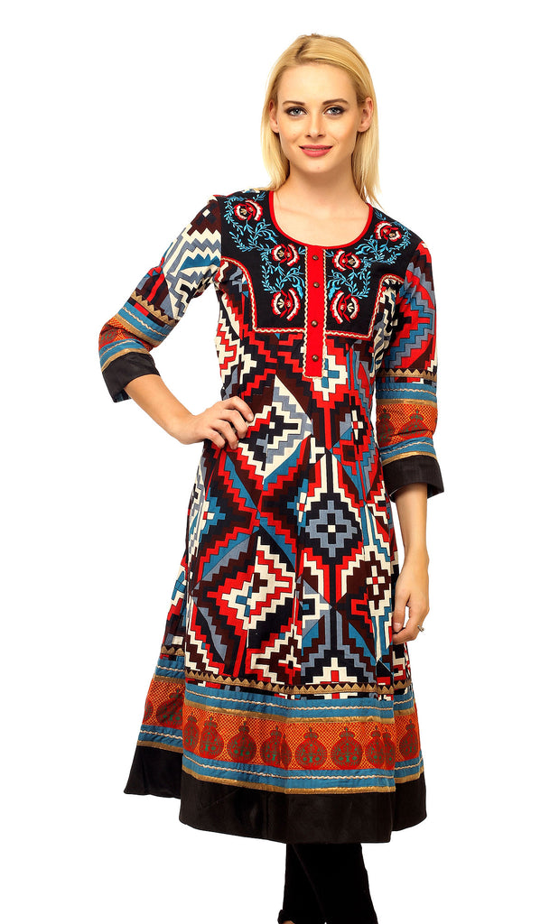 Aztec Design Embroidered Printed Kurta