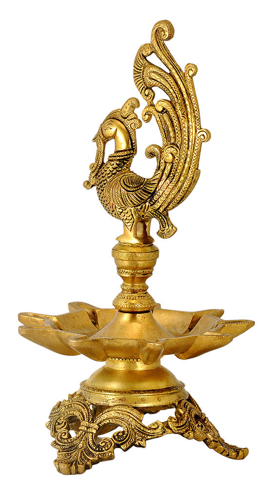 Peacock Brass Lamp