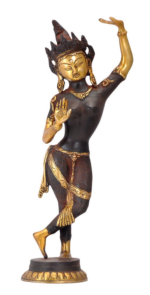 Standing Devi Tara Antique Brown Finish Sculpture