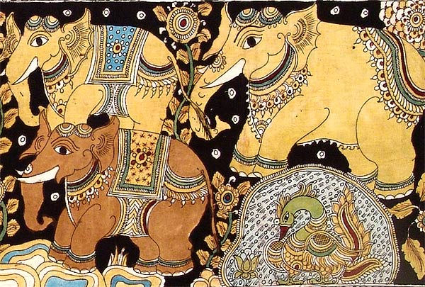 Joyful Elephants - Cotton Kalamkari Painting