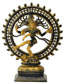 Antiquated God Nataraja Brass Figure with Blazing Aura