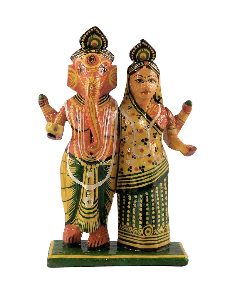 Ganesha Lakshmi Wood Sculpture