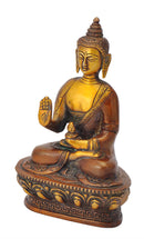 Blessing Buddha Colored Brass Figure