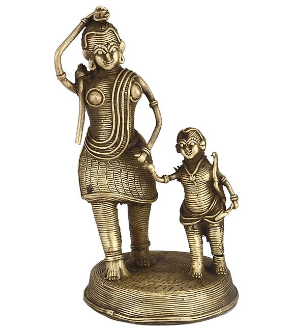 Lady with Child - Dhokra Statue