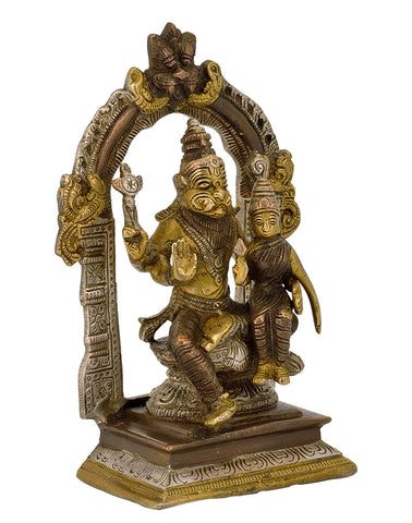 Lord Narsingh Narayan with Lakshmi - Brass Statue 7.5""