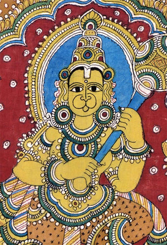 """Gracious Lord Hanuman"" Cotton Kalamkari Painting"