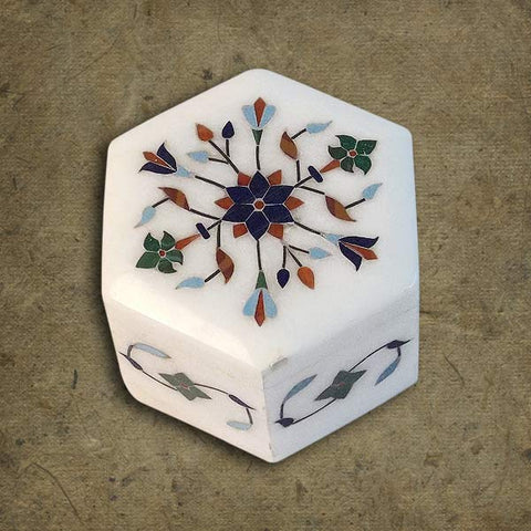 Marble Hexagonal Box with Inlay Work