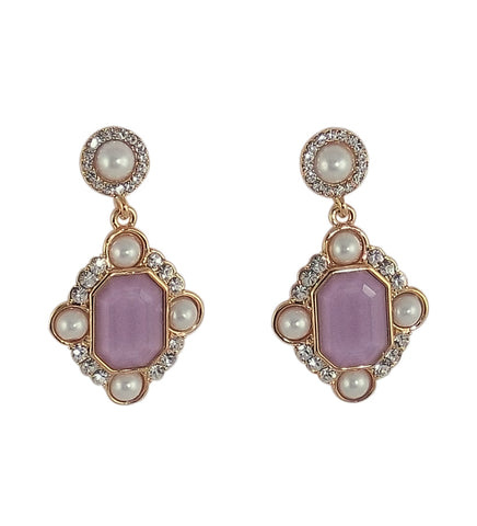 Stone Studded Purple Earrings