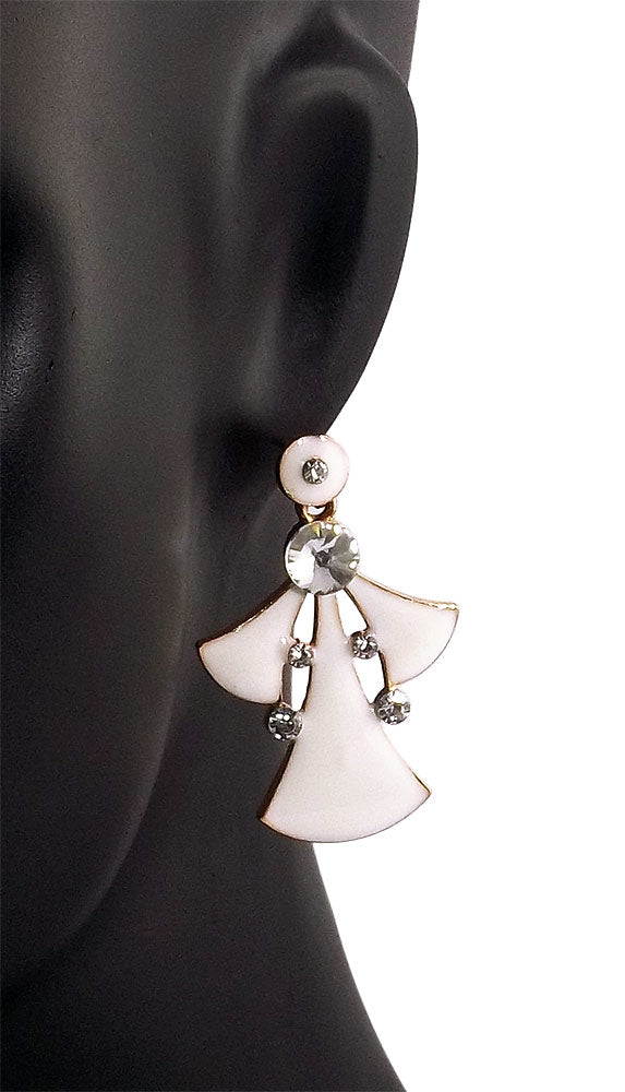 Indian Designer Dangle Earring White for Girl
