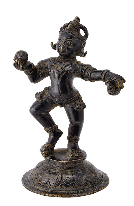 Antique Finish Baby Krishna Holding Sweet Balls Collector's Figurine 5.75""