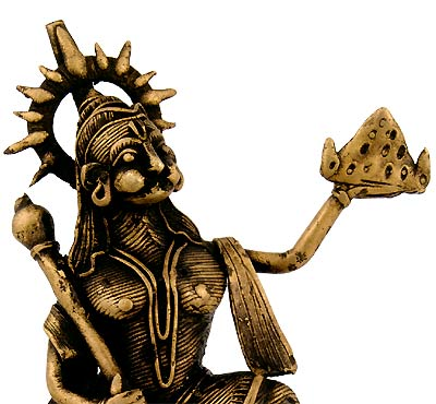 Mighty Lord Hanuman - Dhokra Statuette 5.5""