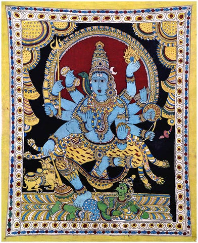 Shiva's Victory Over Ignorance - Kalamkari Painting