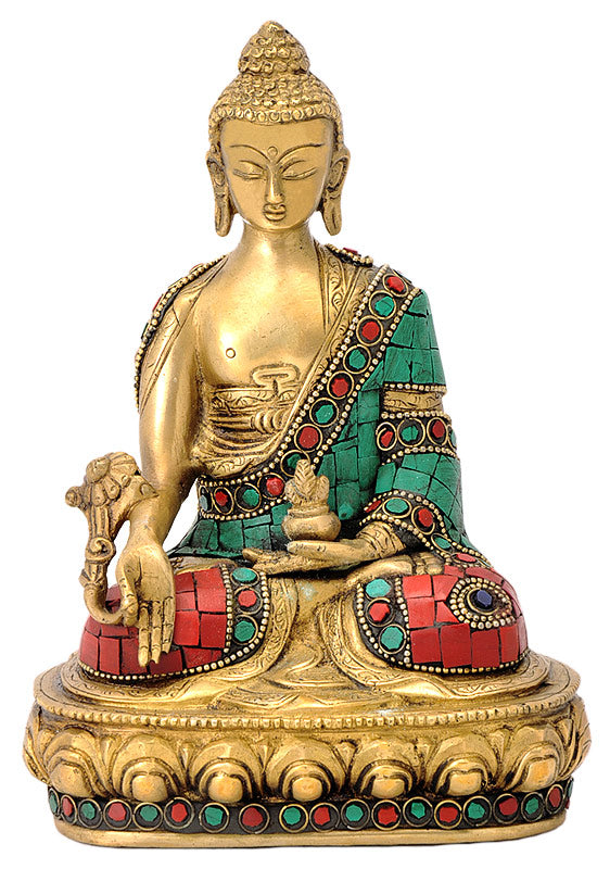 Brass Buddha with Turquoise Coral Stone Work