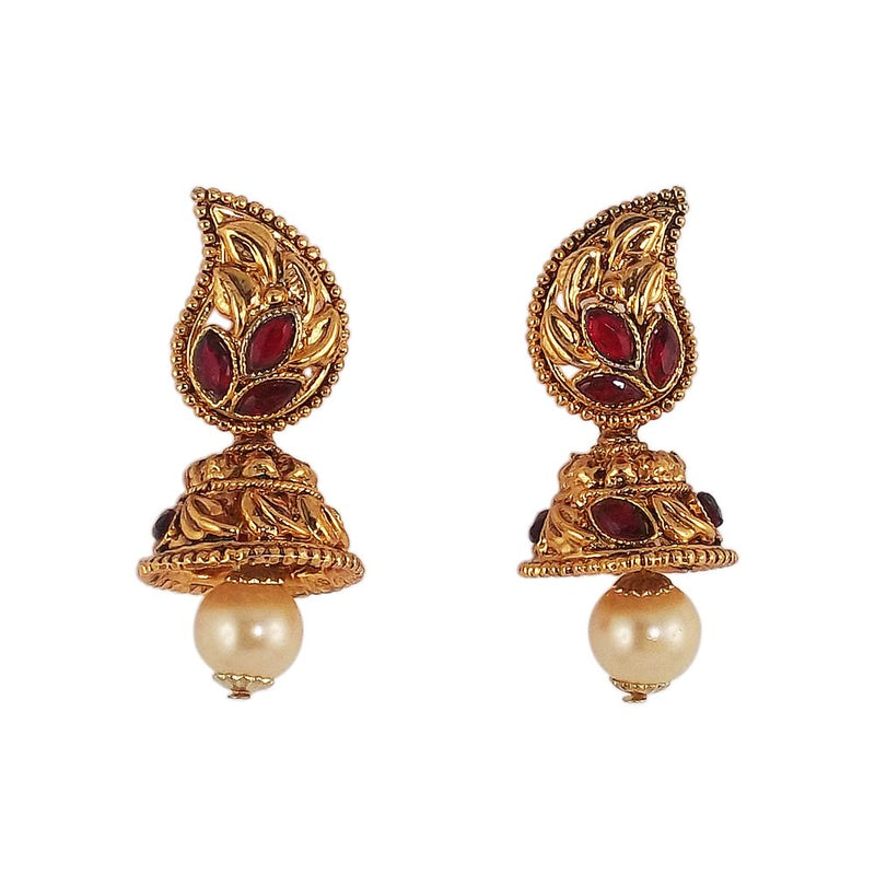 Red Stone Studded Gold Plated JhumkiEarrings