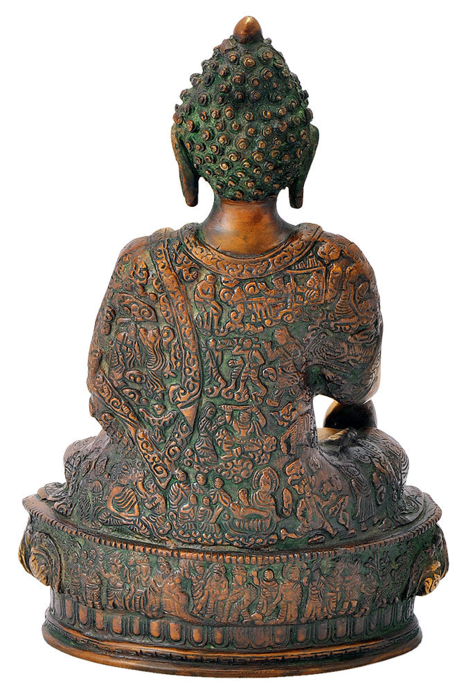 Buddha Statue with 'Life of Buddha' Carved on Robe