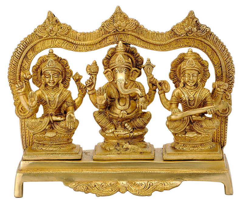 Lakshmi Ganesha and Saraswati Statue with Arched Aureole