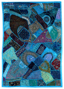 Blue Rhapsody - Embroidered Wall Tapestry
