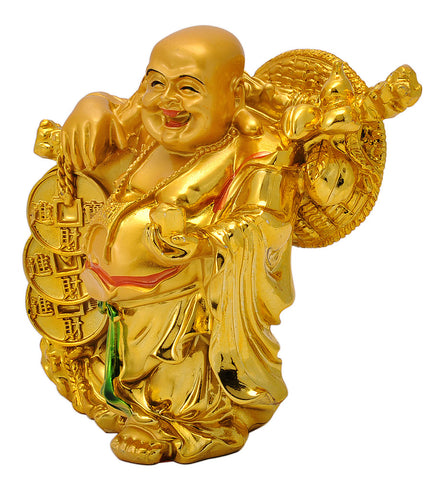 Golden Laughing Buddha Resin Statue