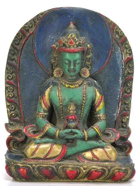 Crowned Amitabha Buddha - Antiquated Resin Statue