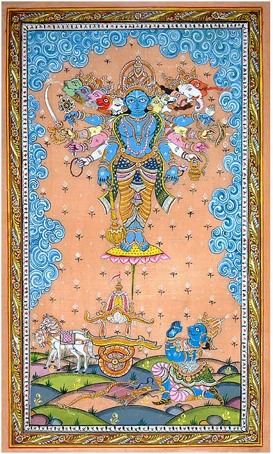 Virat Rupa of Sri Krishna - Pattachitra Painting