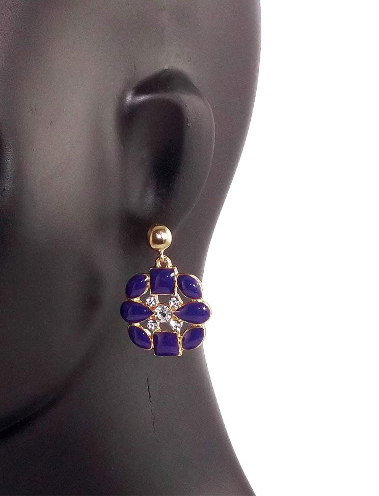 Fashionable Dangle Stone Studded Metal Earrings Purple