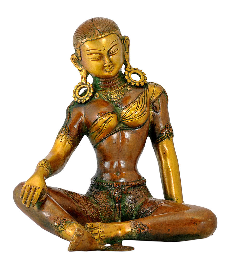 Golden Brown Finish Devi Tara Brass Statue