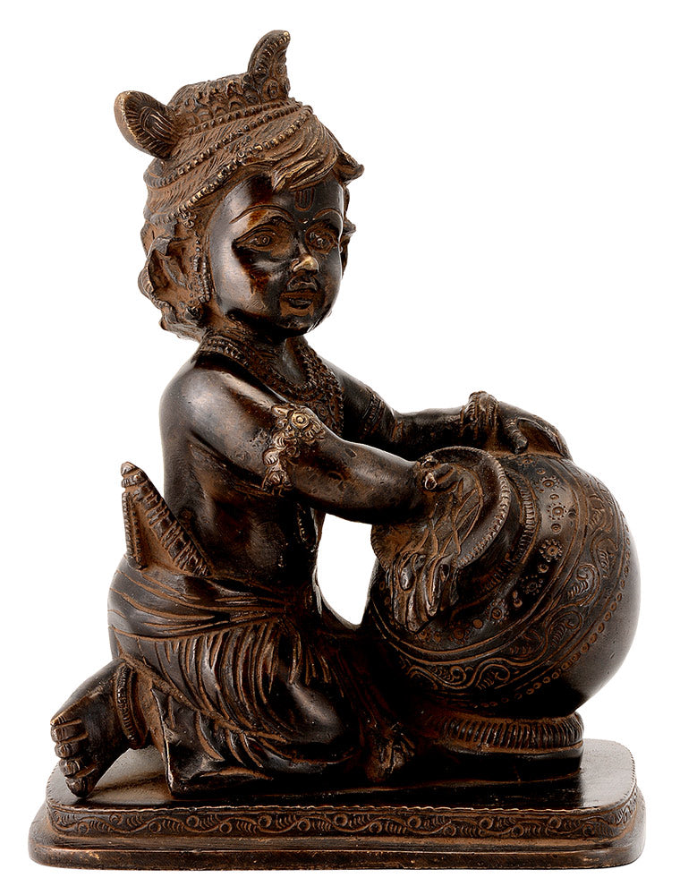 Brass Makhanchor Krishna in Antique Bronze Finish