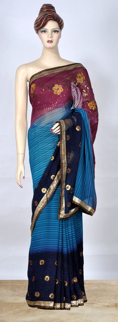 Burgandy Sea Green & Navy Blue Saree