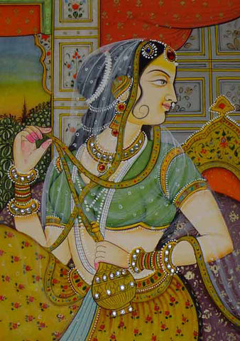 Mughal Princess-Miniature Painting on Marble