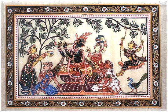 Lord Krishna with Gopis-Silk Painting