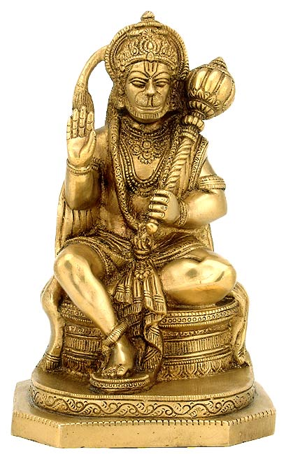 Lord Sankat Mochan Hanuman - Brass Sculpture