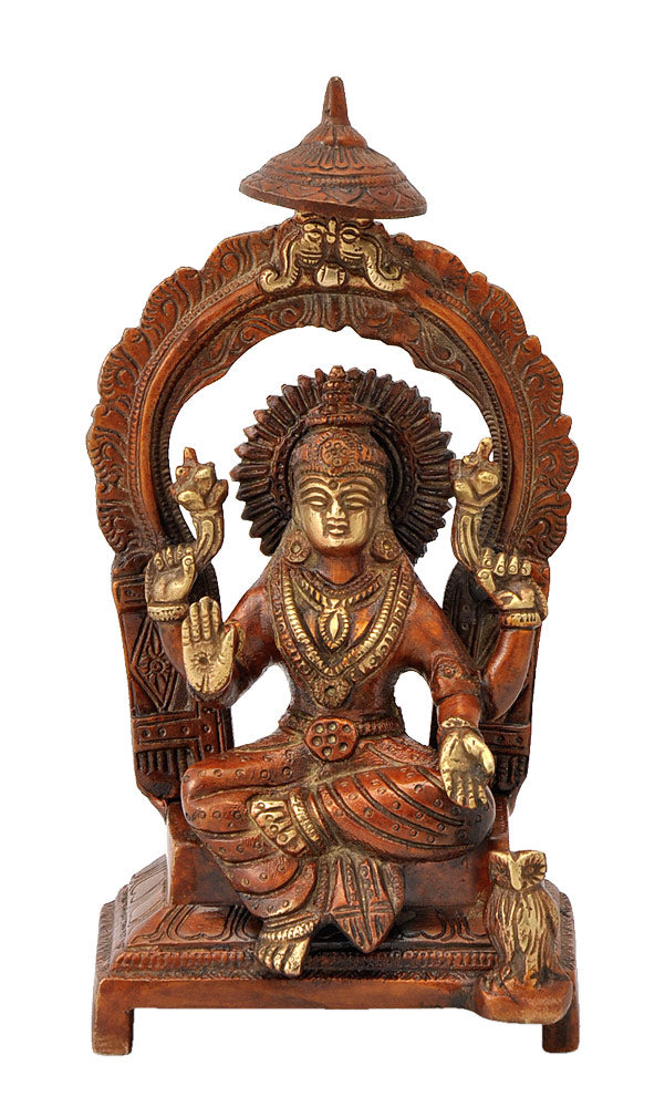 Brass Goddess Lakshmi Seated on Throne