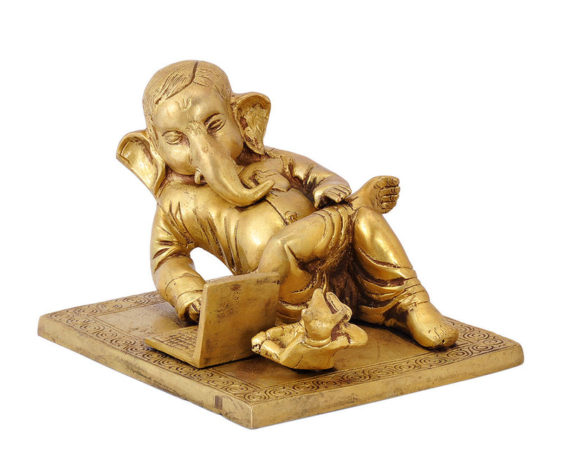 Lord Ganesha Operating Laptop - Brass Statue 7""