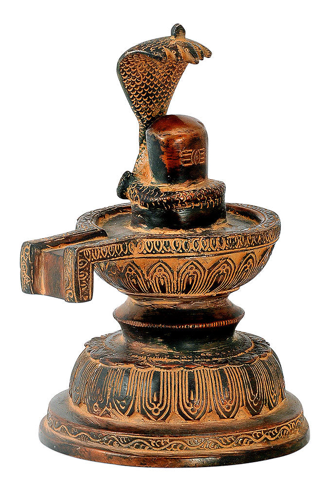 Antiquated Brass Shivling in Old Copper Finish