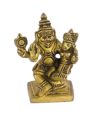 Lord Narsingh and Goddess Lakshmi - Small Brass Statue