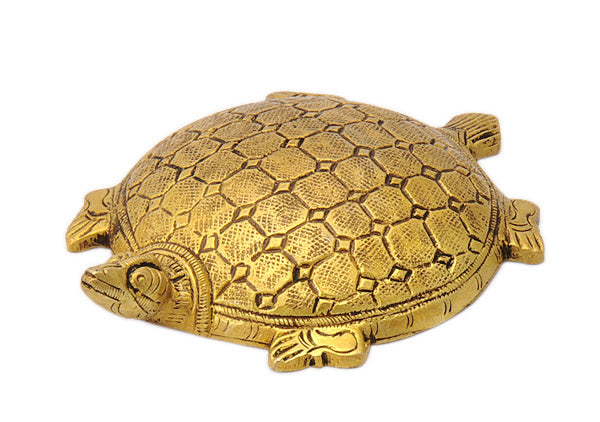 Auspicious Golden Tortoise Brass Figure 4.50""