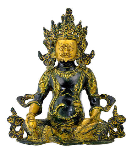 Seated Lord Kuber Antiquated Brass Statue 10""