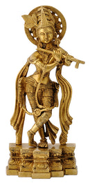 Sri Krishna Playing Flute Brass Sculpture