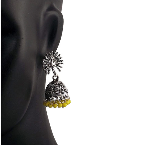 Yellow Beads Peacock Beautiful Indian Style Sliver Color Jhumki Earrings