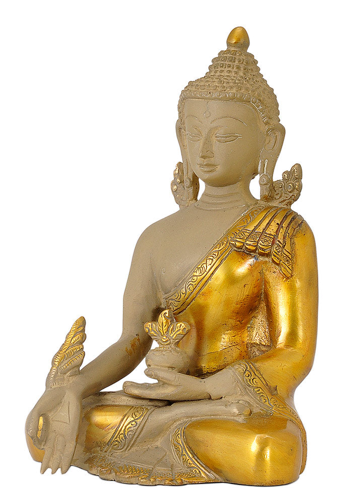 Medicine Buddha Sculpture in Antique Golden Finish