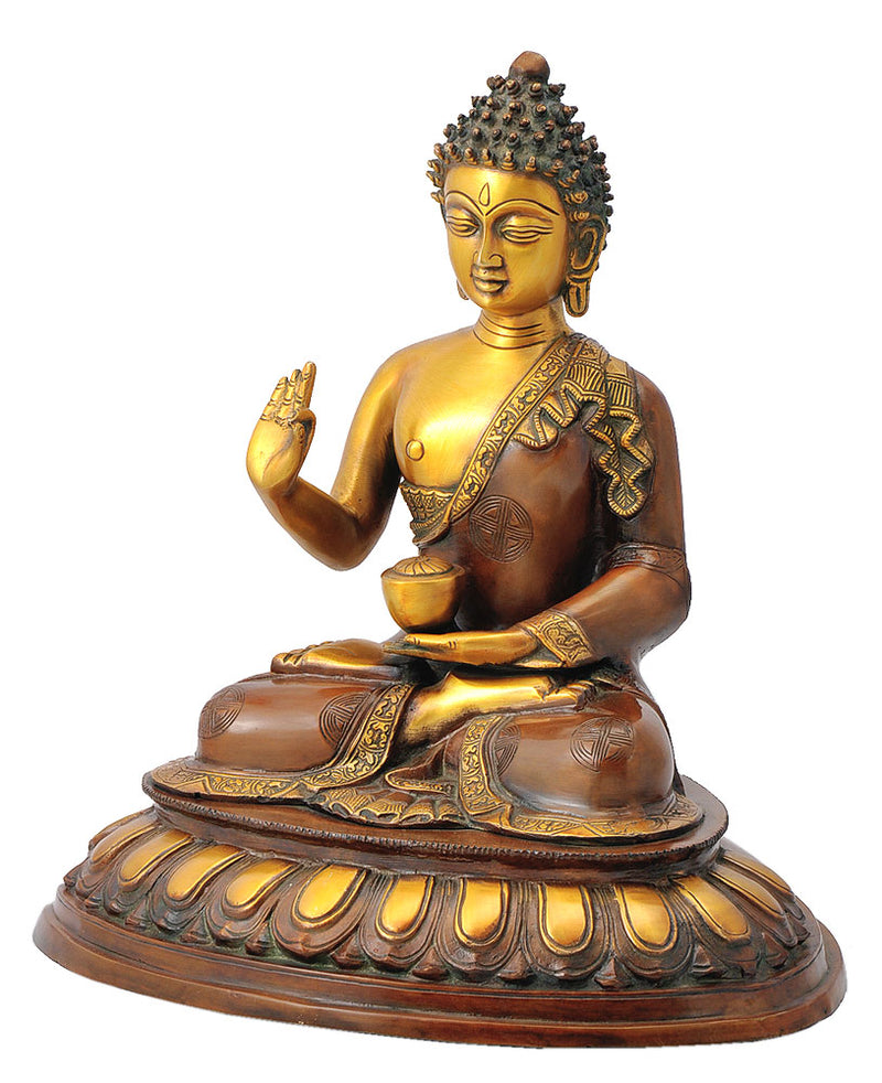 Sakya Muni as Medicine Buddha Brass Sculpture 15""